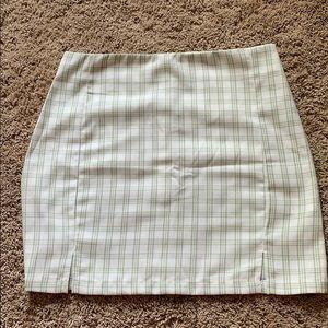 green and white plaid skirt